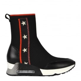 LIBERTY High Top Star Trainers Black Red Metallic Knit