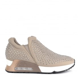 LIFTING Trainers Taupe Neoprene & Gemstones