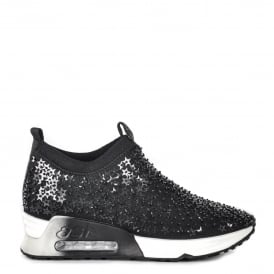 LIGHTING STAR Embellished Trainers Black Neoprene & Sequins