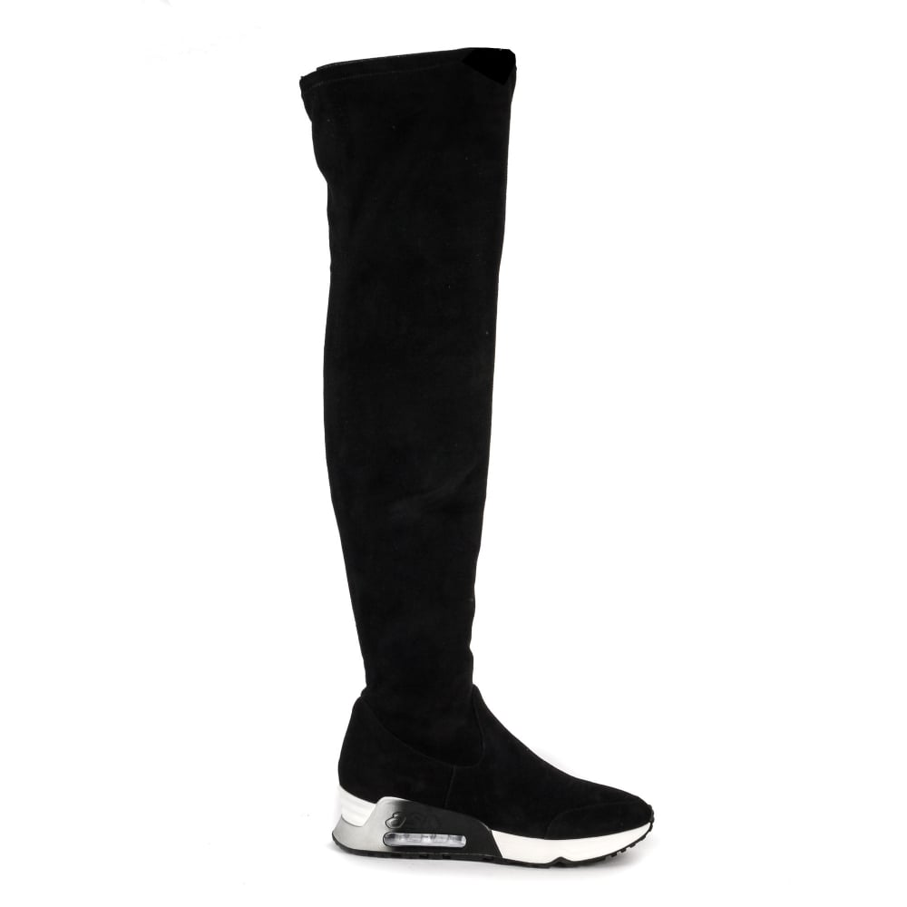 Shop Thigh High Boots in Black Suede at