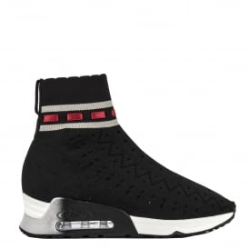 LINK Trainers Black & Grey Perforated Stretch Knit