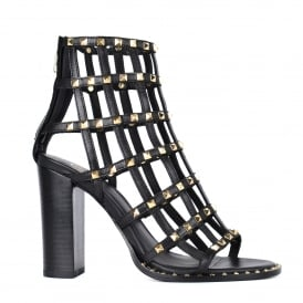 LINX Studded Cage Heeled Sandals Black Leather