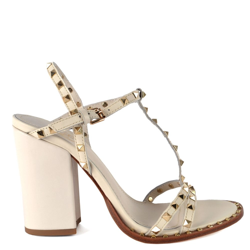 Sandals Studded Lips Heeled Ivory Leather cj3RLq4A5