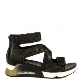 LIPS Trainer Sandals Black & Army Green Mesh