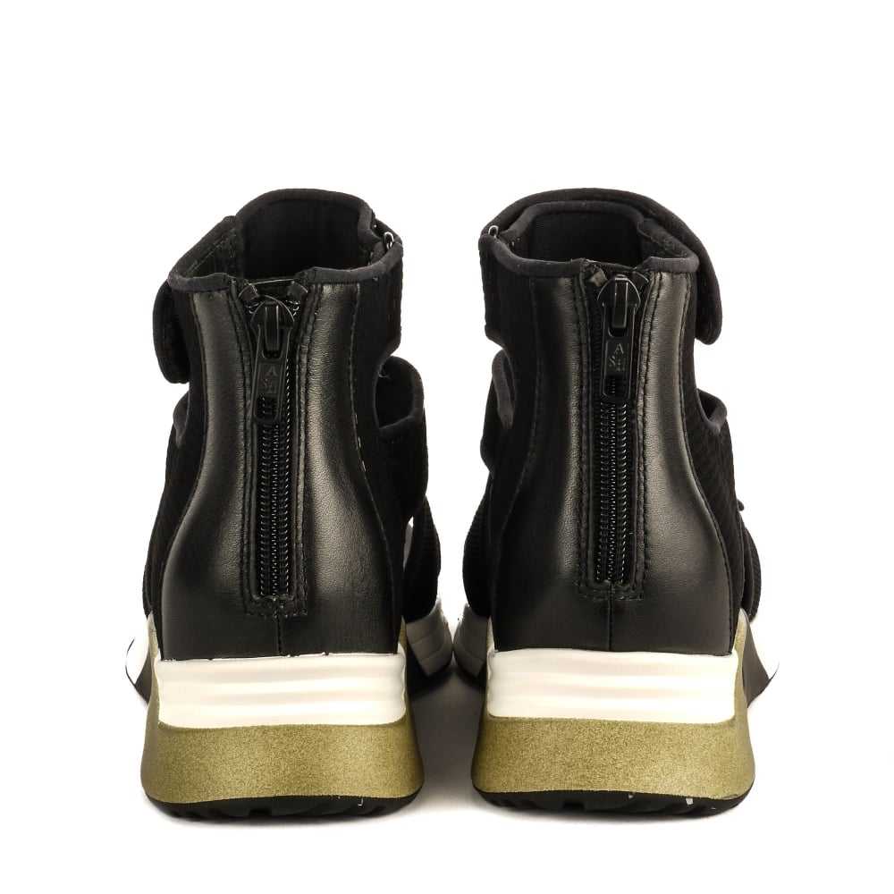 8dfbd399432c6 Shop Ash Footwear Lips Sandals in Black & Green Neoprene Online Today
