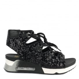 LIV Sandals Black Sequins & Leather
