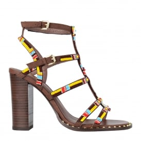 LIZA Beaded Heeled Sandals in Brown Suede & Studs
