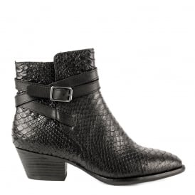 LOIS Boots Black Python Textured Leather