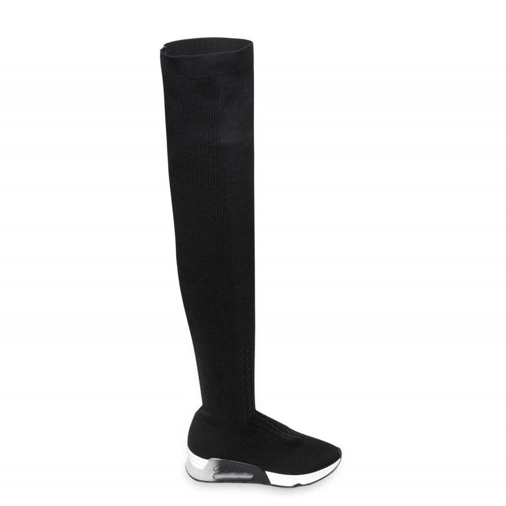 db7ff7962 Ash LOLA Thigh High Trainer Boots Black Knit