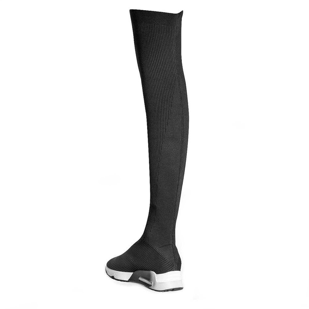 c04ef08be76 LOLA Thigh High Trainer Boots Black Knit