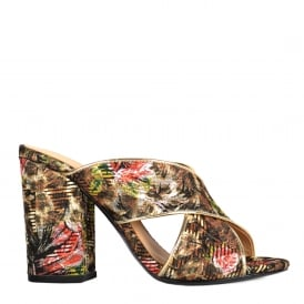 LOLABIS Heeled Sandals Leopard & Floral Tapestry Print