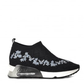 LOLITA Trainers Black Knit & Floral Embroidery