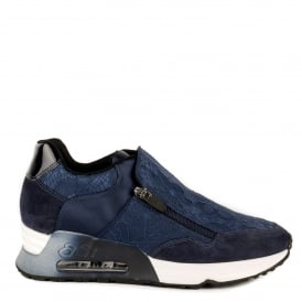LOOK LACE Trainers Navy Lace & Suede
