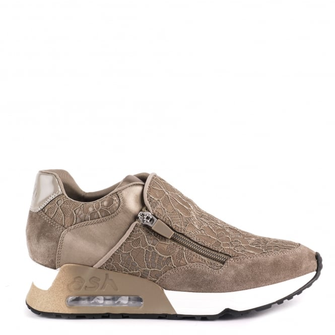 Ash LOOK LACE Trainers Taupe Lace & Suede