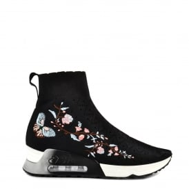 LOTUS Trainers Black Knit With Embroidery