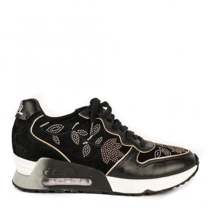 Ash LOVE BEADS Embellished Trainers Black Suede
