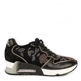LOVE BEADS Embellished Trainers Black Suede