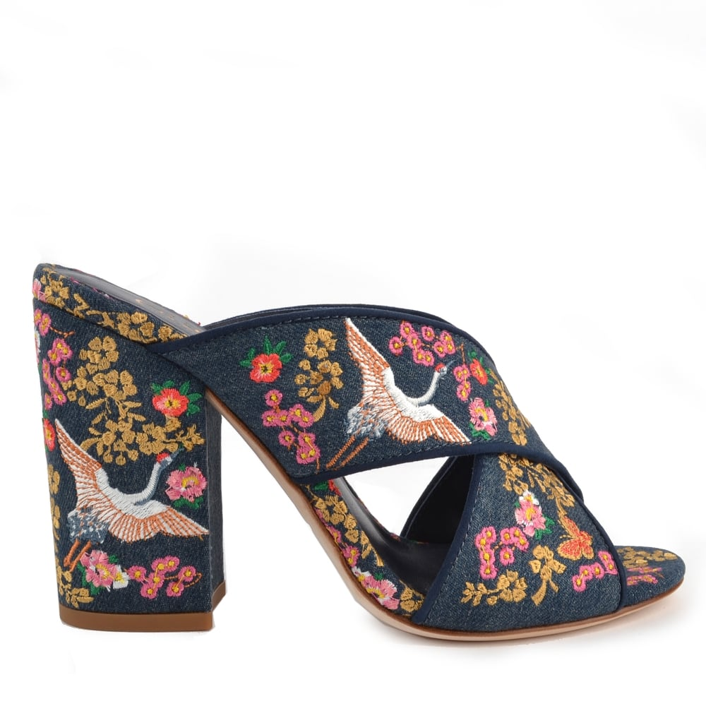 Ash LOVE Embroidered Heeled Sandals Blue Denim