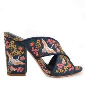 LOVE Embroidered Heeled Sandals Blue Denim