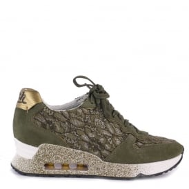 LOVE LACE Trainers Army Lace & Gold Leather