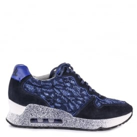 LOVE LACE Trainers Indigo Lace & Suede