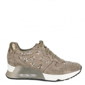 LOVE RETE Embroidered Trainers Taupe Suede