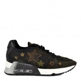 LUCKY STAR Trainers Black & Army Knit With Star Applique