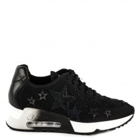 LUCKY STAR Trainers Black Knit With Star Applique