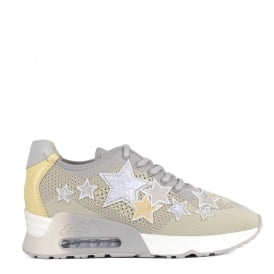 LUCKY STAR Trainers Pearl Grey & Yellow Knit With Star Appliqué