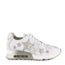 LUCKY STAR Trainers White Knit With Star Applique
