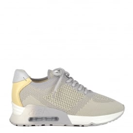 LUCKY Trainers Pearl Grey & Yellow Knit