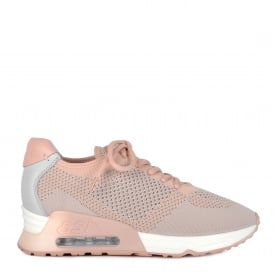 LUCKY Trainers Pink & Pearl Grey Knit