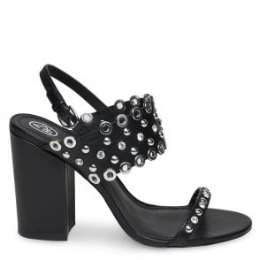 708135a50ea LUCY Block Heeled Sandals Black Leather