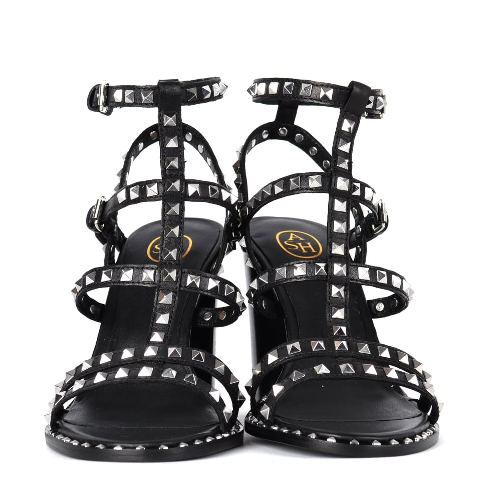 5e1df9619cf LUCY Heeled Sandals Black Leather  amp  Silver Studs