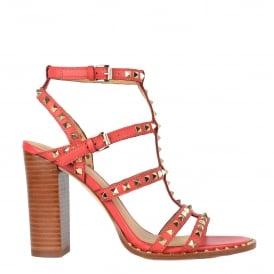 LUCY Heeled Sandals Coral Leather & Gold Studs