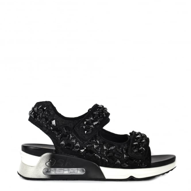 Ash LULLASTONES Trainer Sandals Black Lace Satin & Gemstones