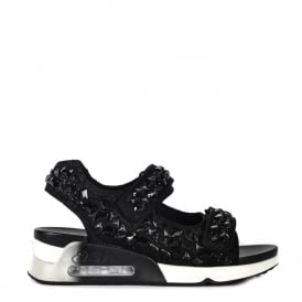 LULLASTONES Trainer Sandals Black Lace Satin & Gemstones