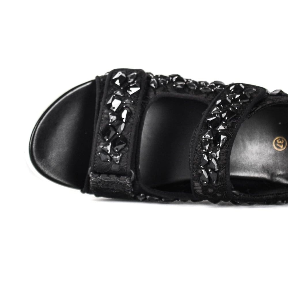 e6654807c738 Shop The Unique Lulla Stones Trainer Sandal In Black Lace And Satin