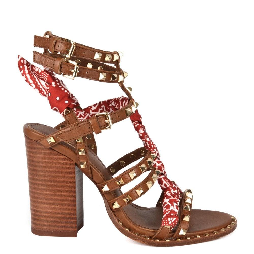 914ba378bd53 Ash LUNA Heeled Sandals Brown Leather   Gold Studs