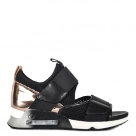 LUNATIC Trainer Sandals Black Mesh Knit & Copper Leather