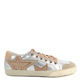 MAGIC Trainers Silver Leather & Beige Pony Hair Star Motif