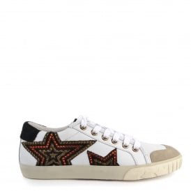 MAGIC Trainers White Leather & Black Pony Hair Star Motif