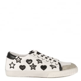 MAGIC Trainers White Leather With Heart Pattern & Black Accent