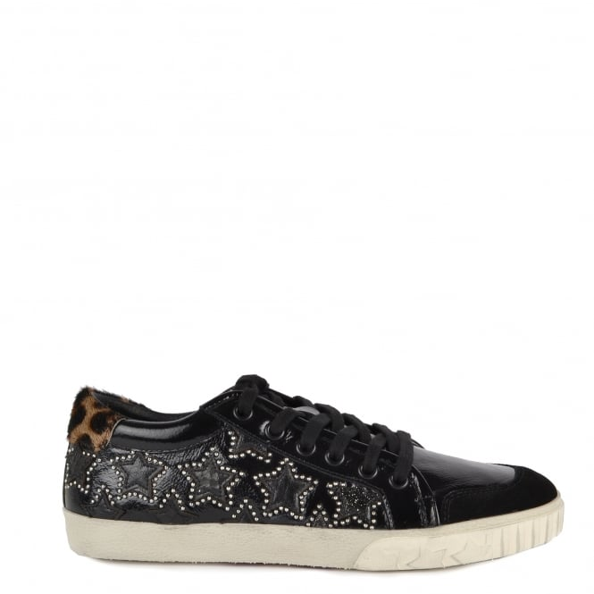 Ash MAJESTIC BIS Star Trainers Black Vinyl Leather & Leopard Print