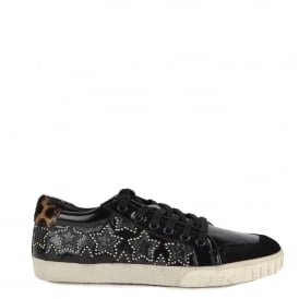 MAJESTIC BIS Star Trainers Black Vinyl Leather & Leopard Print