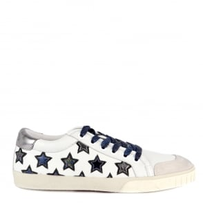 Ash MAJESTIC Star Motif Trainers Off White Leather & Chrome Accent