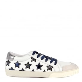 MAJESTIC Star Motif Trainers Off White Leather with Chrome Accent