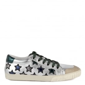 MAJESTIC Star Motif Trainers Silver & Emerald Green Leather