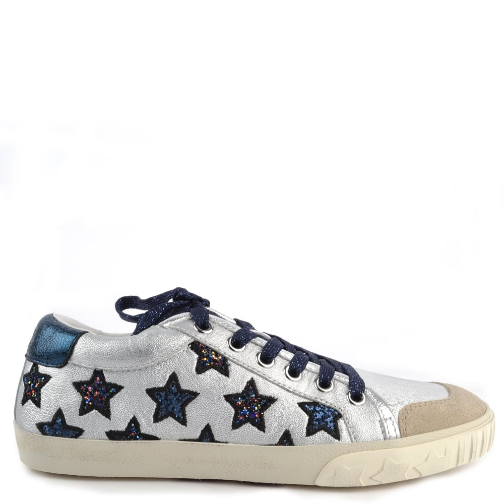 3c7bfd5aa25a2 MAJESTIC Star Motif Trainers Silver Leather & Midnight Glitter