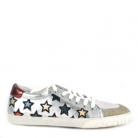 MAJESTIC Star Motif Trainers Silver Leather